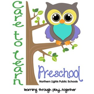Northern Lights Public Schools Care to Learn PreSchool logo with tagline Learning Through Play Together